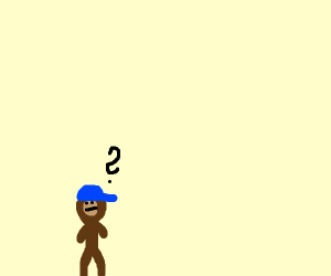 A small brown creature wearing a blue cap