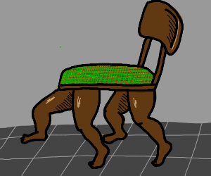 chair with some THICCC human legs