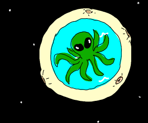Giant Octopus Alien In The Moon
