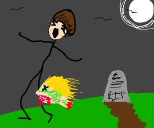severed zombie head bites kid with bowl cut