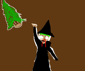 Wizard with with a nose bleed, throwing trees