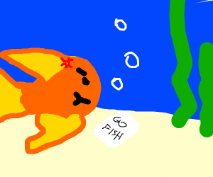 "Angry fish playing ""go fish"""