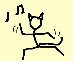 Stick cat dancing