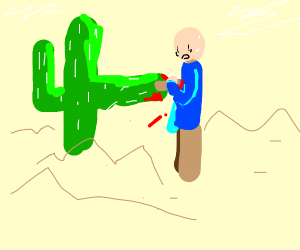 Cactus stabbed person