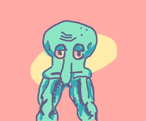 Squidward head with thicc legs