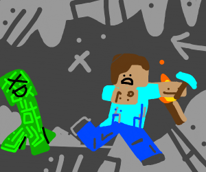 Creeper chasing a guy with diamond pickaxe