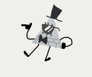 Bill cipher with a top hat and sunglasses