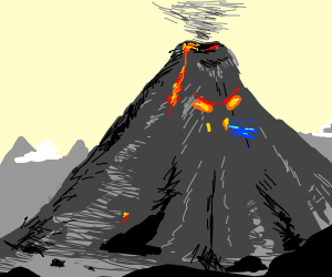 Mad volcano spits out water