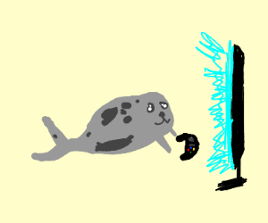 Seal playing video game