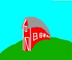 A long, narrow barn