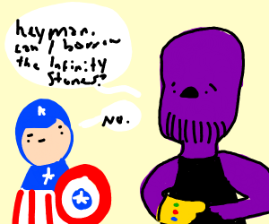 Thanos asks politely for the infinity stones