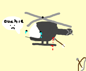 Somebody shot an arrow at a helicopter