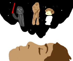 guy dreaming about starwars