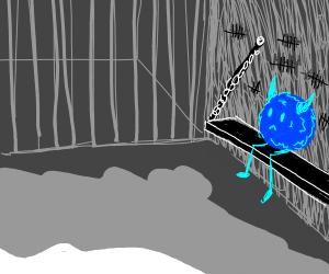 Blue monster in jail