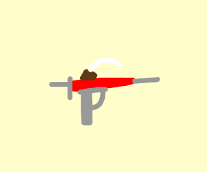 a red syringe gun with a claw on the top