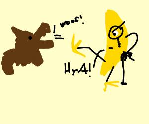 dog barks at banana thing