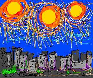 three suns over a city