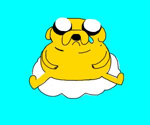 Sad Jake The Dog On Cloud