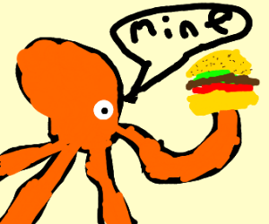 Octopus takes a burger