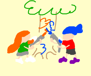 friends painting a tree together :)