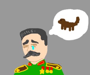 Joseph Stalin thinks sorrowfully about hs dog