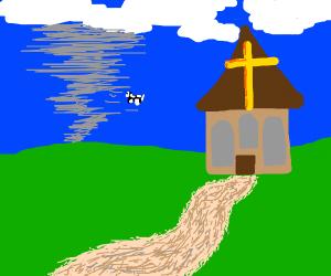 a church in a storm in a field