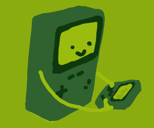 Game boy playing on a gameboy