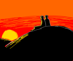 Two friends sit and watch the sunset