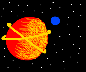 Big red planet has blue moon