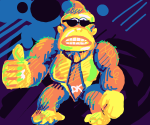 DONKEY KONG  in sunglasses giving thumbs up