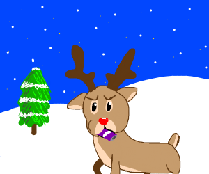 Reindeer eating a purple can