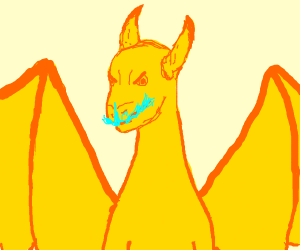 shiny charizard but yellow with blue flame