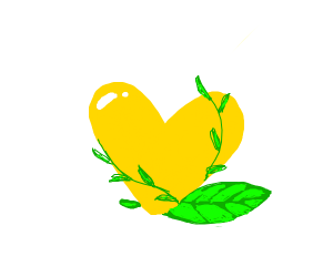 Golden heart with flowers growing out of it