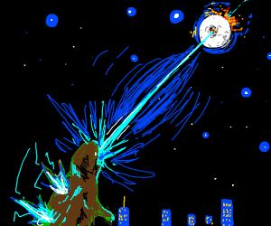 Godzilla shoots the moon