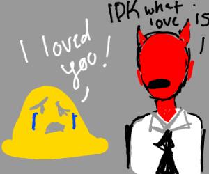 Yellow blob man gets heartbroken by Satan