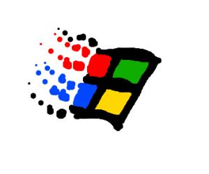 Old Windows logo is a window broken on side