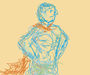 Who is this mysterious scribbled superhero?