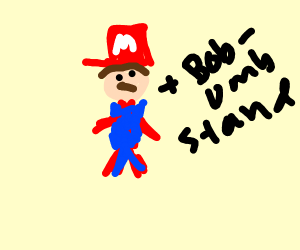 Mario and his Bob-omb stand