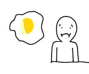 man is sad at a fried egg