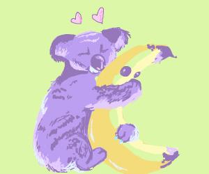 Koala hugging a mutant banana