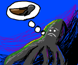 Sad octopus thinks of attacking a boat