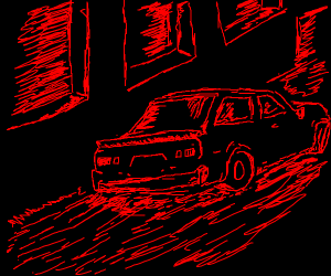 red driving in the middle of the night