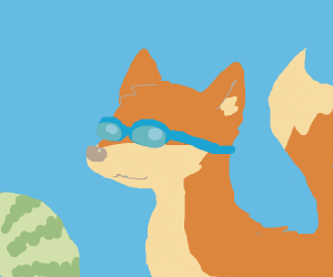 Fox with turquoise goggles