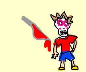 Boy with a skull head is about to be stabbed