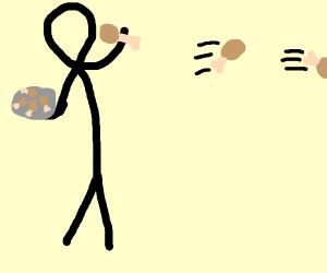 Man throwing fried chicken