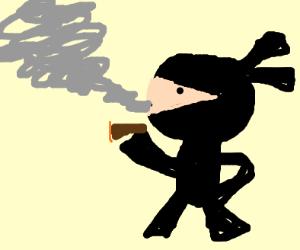 Ninja smoking a cigar