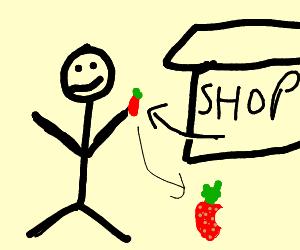 Guy buys half eaten strawberry