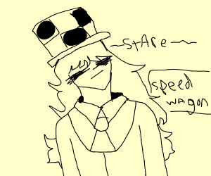 Speed wagon looks off into the distance