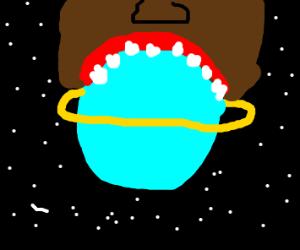 zombie barack obama eating ringed planet