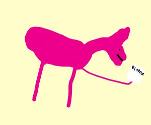Sad pink unicorn was divorced by his waifu